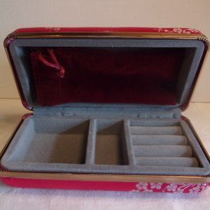 Vintage Red Oriental Theme Jewelry Travel Case